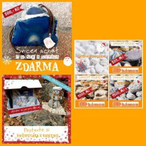 Vánoční sety - svícny, sněhulák z kamene, dárkové poukazy